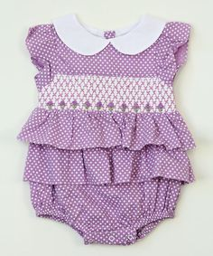 So cute for Baby Shower! Sale $16.99 Reg. $45.00 Purple Polka Dot Floral Smocked Tiered Bubble Bodysuit - Infant ~ more choices