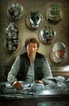 """Han Solo's Trophy Wall by Nick Runge, in ChrisCaira's """"Trophy Wall"""" Themed Commissions 5 Comic Art Gallery Room  #StarWars"""
