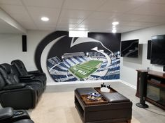 Residential & Commercial Murals - Art By Alysia Basement Sports Bar, Basement Bar Plans, Man Cave Basement, Basement Remodel Diy, Man Cave Garage, Basement Remodeling, Football Man Cave, Sports Man Cave, Man Cave Room