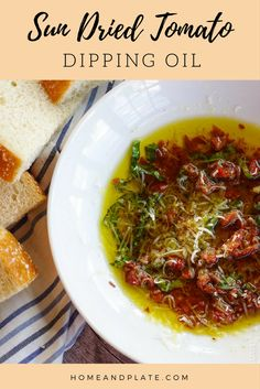 Bread Dip with Olive Oil and Sun Dried Tomatoes - Home and Plate Dip your crusty bakery bread loaf in true Italian flavor with this easy to make sun-dried tomato and basil dipping oil. Italian Appetizers, Appetizer Recipes, Cold Appetizers, Antipasto, Sauce Recipes, Cooking Recipes, Copycat Recipes, Cooking Tips, Olive Oil Dip For Bread