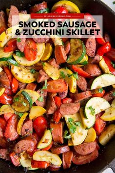 Lower Excess Fat Rooster Recipes That Basically Prime This Smoked Sausage And Zucchini Skillet Has Loads Of Flavor And Veggies For A Quick 20 Meal Serve Over Rice Or Pasta For A Dinner To Satisfy Everyone Smoked Sausage Recipes, Pork Recipes, Veggie Recipes, Cooking Recipes, Healthy Recipes, Recipes With Turkey Sausage Links, Chicken Sausage Recipes, Veggie Sausage, Chicken Soups
