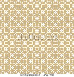 Vector golden ornamental seamless pattern. Subtle geometric texture with rounded mesh, lattice, grid, floral tiles. Elegant abstract repeat ornament in Asian style. White and gold luxury background