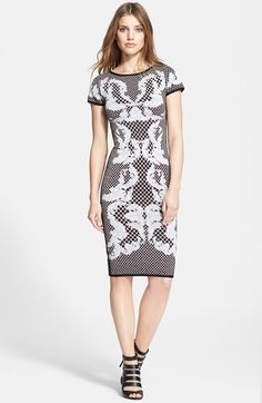 Herve Leger Short Sleeve Jacquard Dress