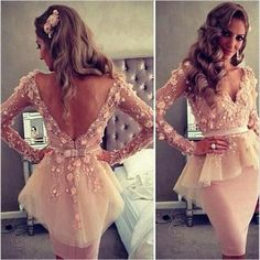 Sexy V-back Pink Appliques Long Sleeve Mermaid Organza Homecoming Dresses , HD062
