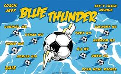 Thunder-Blue-46216  digitally printed vinyl soccer sports team banner. Made in the USA and shipped fast by BannersUSA. www.bannersusa.com