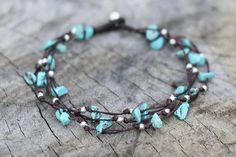 Turquoise Silver Tie Anklet by brasslady on Etsy