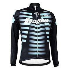 KOOPLUS Unisex Customized Black Blue Stripes Spring Autumn Long Sleeve Polyester Cycling Jersey , Font 5-Text Color 6 *** You can find out more details at the link of the image.