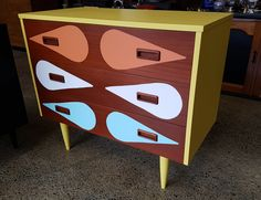 3 Drawer Chest, Chest Of Drawers, Orange And Turquoise, Yellow, Refurbished Furniture, Mid Century Style, Drops Design, Girl Scouts, Don't Forget