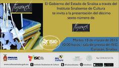 El Gobierno del Estado de Sinaloa a través del Instituto Sinaloense de Cultura te invitan a la presentación del décimo sexto número de la Revista Literaria Timonel. Martes 10 de marzo de 2015 en la Sala de Prensa del ISIC, a las 10:00 horas. Entrada libre. #Culiacán, #Sinaloa.