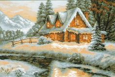 Winter - Snow-covered House - cross stitch kit, manufactured by RIOLIS. Includes 17 colors of woollen/acrylic yarn safil floss. Counted Cross Stitch Kits, Cross Stitch Charts, Cross Stitch Patterns, City Landscape, Winter Landscape, Cross Stitch Numbers, Cross Stitch Landscape, Cross Stitch Pictures, Winter Scenes
