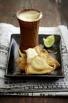 Coconut Lime Cream Pots with Banana Wontons