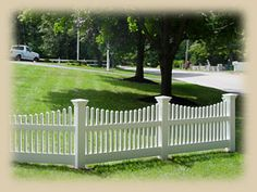 Home Remodeling Improvement Scalloped White Picket Fence   Vinyl Too - Great Design Ideas