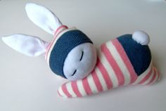 Your place to buy and sell all things handmade : Sleeping sock bunny in pink striped cloth, Waldorf inspired rabbit, Baby bunny, Stuffed toy animal, Christmas gift for her by Fresiadecor on Etsy Sleeping Bunny, Sock Bunny, Sock Toys, Sock Crafts, Handmade Baby Gifts, Baby Bunnies, Easter Bunny, Sock Animals, Wild Style