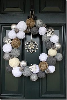 diy winter wreaths! For January and February. Hate the months in between Christmas and Spring :( - could also use foam balls covered
