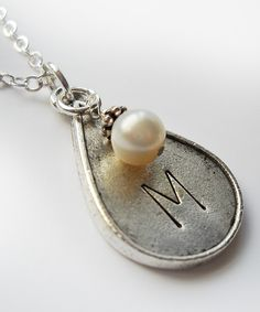 Pearl  Sterling Silver Teardrop Initial Pendant Necklace | Daily deals for moms, babies and kids