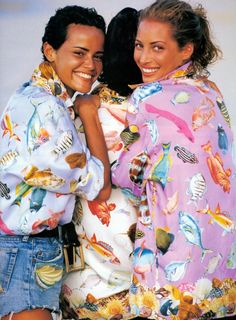 Christy Turlington, 1990s Gucci fish print shirts