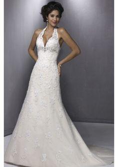 Halter-neck tulle out-layer satin appliqued wedding dress