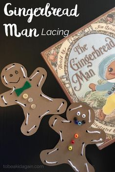 Gingerbread Man Lacing Activity and Craft for Preschoolers and Christmas craft for kids, great for fine motor skills or use as a homemade ornament.
