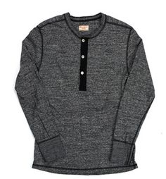 Inventory - Homespun Charcoal Mock Twist Henley