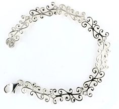 """SOUTHERN GATES STERLING SILVER - SOUTHERN GATES STERLING SILVER SWIRL WITH LOBSTER CLASP BRACELET 8"""""""