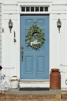 This large farmhouse eucalyptus and lambs ear wreath is charming and elegant. Farmhouse greenery beauty complements both indoor and outdoor settings alike, especially when paired with complementary farmhouse home decor.