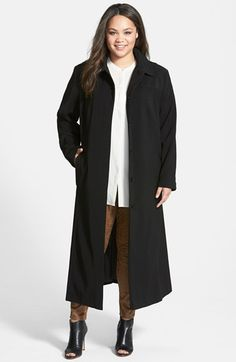 Gallery Pickstitch Detail Long Nepage Raincoat with Detachable Hood (Plus Size) available at #Nordstrom