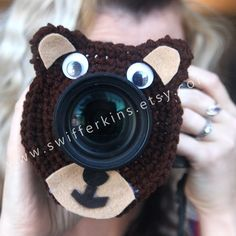 Camera+lens+buddy.+Crochet+lens+critter+TEDDY+BEAR.+by+Swifferkins,+$12.99