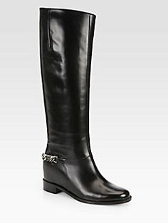 Wish list love the in built wedge to make me look taller :)) Christian Louboutin - Cate Leather Chain-Detail Boots
