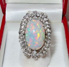 14K White Gold Ring with 18.5mm Australian OPAL Ring & 60 Diamonds  (size 6) #SolitairewithAccents