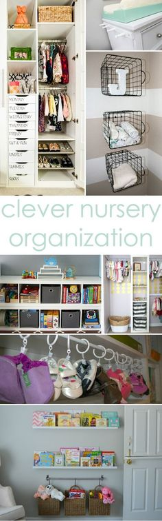 Clever Nursery Organization Ideas from Project Nursery - love the idea of baskets hung from the wall next to the changing table! #nursery #organization #babystufforganization