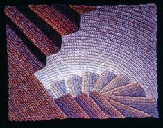 Elizabeth Tuttle, Deep Red to Light Blue; Crocheted cotton sewing thread 9x12 inches. 1980 to 1983 #warmtone #cooltone #ombre #geometricart #geometry #crochet #art #fineart #fiberart #fibreart #textile #textileart #domesticlife #domesticart #conceptualart #architecture #design #stairs #opticalillusion Cool Tones, Conceptual Art, Geometric Art, Optical Illusions, Textile Art, Fiber Art, Pattern Design, Light Blue, Textiles