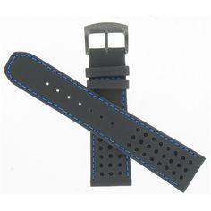 b9776247d6efb Citizen 59-s52630 Eco-drive Black Watch Band 23mm Strap Blue Stitches for  sale online   eBay