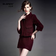 Winter 2014 new European and American high-end collar bow Ma Haimao jacket + pure temperament half skirt suit