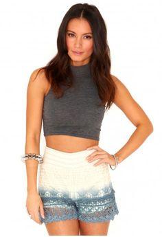 Kolia Ombre Crochet Shorts- shorts- missguided