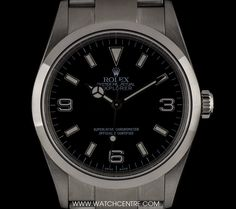 rolex stainless steel o p black dial explorer i gents 14270 A Stainless Steel Oyster Perpetual Explorer I Gents Wristwatch, black dial with applied index batons and applied arabic numbers 6 and a fixed st - Watchcentre Luxury Watches, Rolex Watches, Watches For Men, Wrist Watches, Used Rolex, Rolex Explorer, Rolex Oyster Perpetual, Vintage Rolex, Rolex Datejust