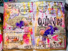 Creative Creations by Andrea Gomoll | One little Word 2015 – The Documented Life Project 2015 – Artjournal Page: Embrace | http://andrea-gomoll.de