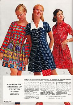 Never too much patterns in fabric for most folks in the early 70s -- and boy does that middle one with the 'gull-wing' collar scream 1971 or what!