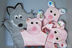 marionetas de mano ·los tres cerditos · 3 little pigs · hand puppets diy
