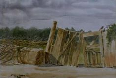 Vista de una parcela Callejón Rafael Torreblanca en Copiapó. Foto tomada el año 1988. Pintado por el pintor copiapino Juan Carlos Aguirre Carrasco.