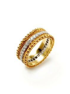 Buccellati Gold & Diamond Textured Band Ring by Buccellati at Gilt