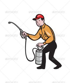 Pest Control Exterminator Worker Spraying Cartoon   #GraphicRiver         Illustration of a pest control exterminator worker spraying with pest control spray equipment pump viewed from the side on isolated white background done in cartoon style. Editable EPS8 (you can use any vector program) and JPEG (can edit in any graphic editor) files are included.     Created: 10December12 GraphicsFilesIncluded: JPGImage #VectorEPS Layered: No MinimumAdobeCSVersion: CS Tags: artwork #exterminator…