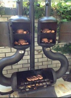 Dual smoker and barbecue. Pit Bbq, Bbq Grill, Asado Grill, Barbecue Smoker, Grill Party, Design Grill, Truck Design, Rocket Stoves, Smokehouse