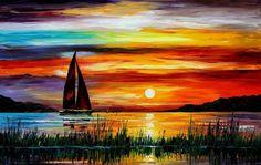 Florida, leonid afremov, zachód słońca, morze, Łódź, malarstwo wektor