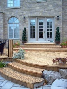 ... steps by the sliding patio door would reduce the steps required down