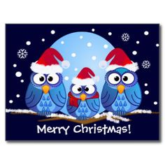 christmas owls name tags | Owls with Santa hats Postcards