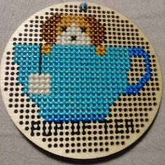 Pup of tea cross stitch pattern tea pdf pattern tea pun Pdf Patterns, Cross Stitch Patterns, Tea Puns, Puppy Crafts, Diamond Paint, Back Stitch, Kids Rugs, Symbols, Black And White