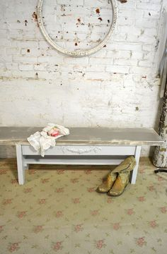 Etsy Painted Cottage Chic Shabby Farmhouse Bench CHR74