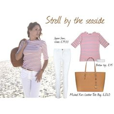 Stroll by the seaside - Breton top, white jeans, brown leather tote bag