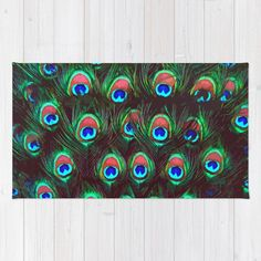 Buy Area & Throw Rugs with design featuring Peacock Feathers by Animilustration and adorn your home with both style and comfort. Available in three sizes (2' x 3', 3' x 5', 4' x 6').