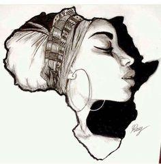Drawing On Creativity Africa Cross Stitch Pattern - African Art Decor Cross Stitch - African Hand Embroidery Pattern - Bla - African Drawings, African Art Paintings, Art Black Love, Black Girl Art, Afrika Tattoos, Black Art Tattoo, Tattoo Art, Afrique Art, Kunst Tattoos